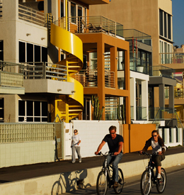 Cyclists biking in Santa Monica