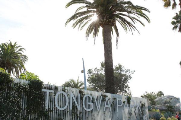 Tongva Park entrance sign