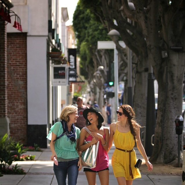 Three women shopping in Santa Monica
