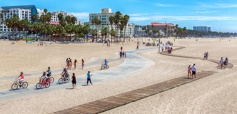 Bike path along Santa Monica Beach