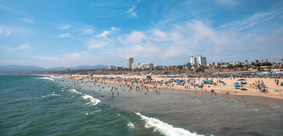 Santa Monica Beach with Hotels