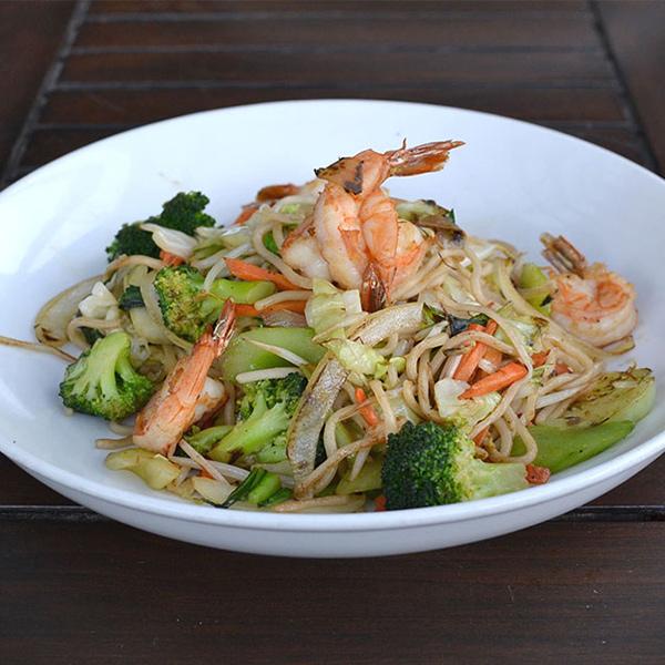 Shrimp and noodle stir-fry