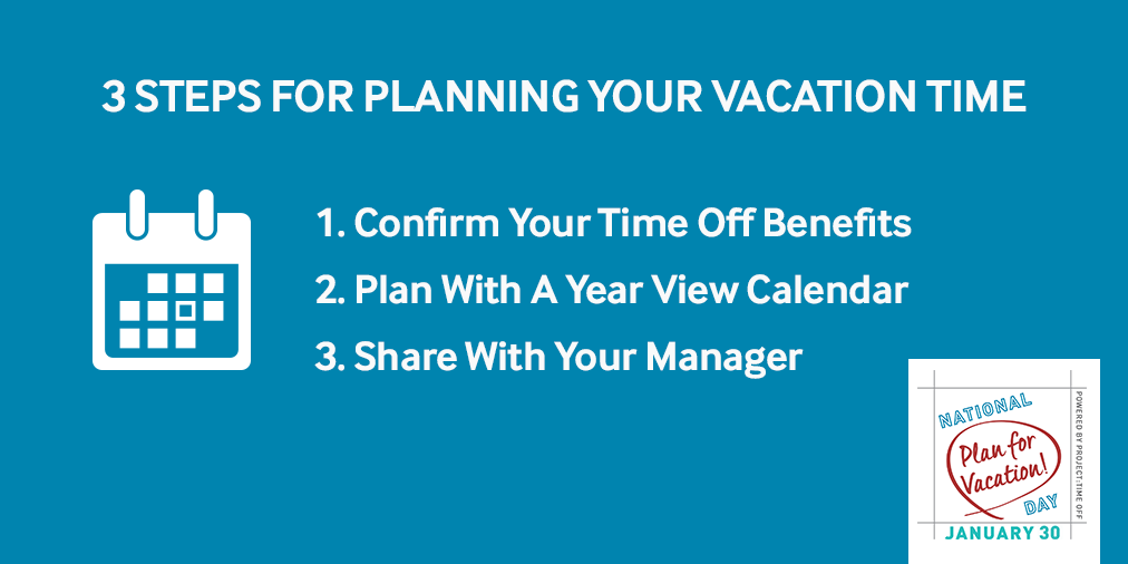 3 Steps for planning your vacation time graphic: 1. Confirm your time off benefits; 2. Plan with a year view calendar; 3. Share with your manager