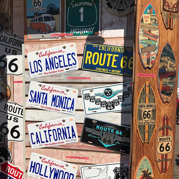 Route 66 souvenirs at Santa Monica Pier