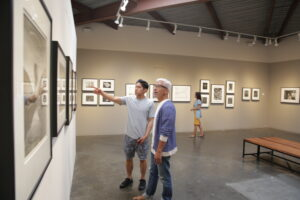 Father and son admiring art at Bergamot Station
