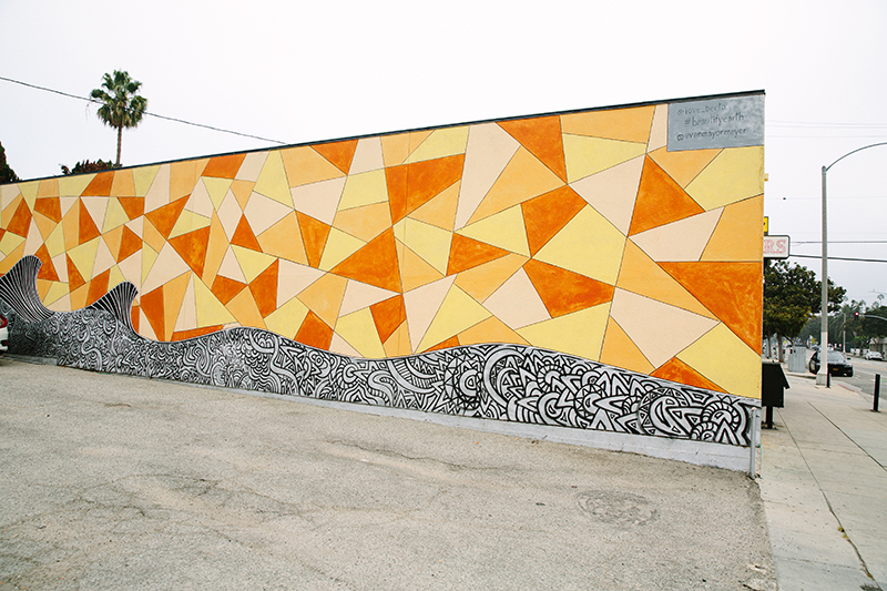 Abstract mural of various triangles and shapes