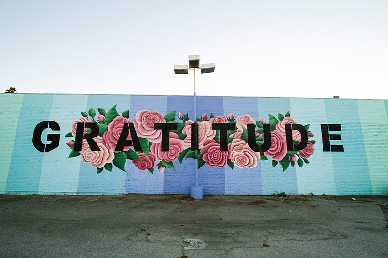 Gratitude mural with roses