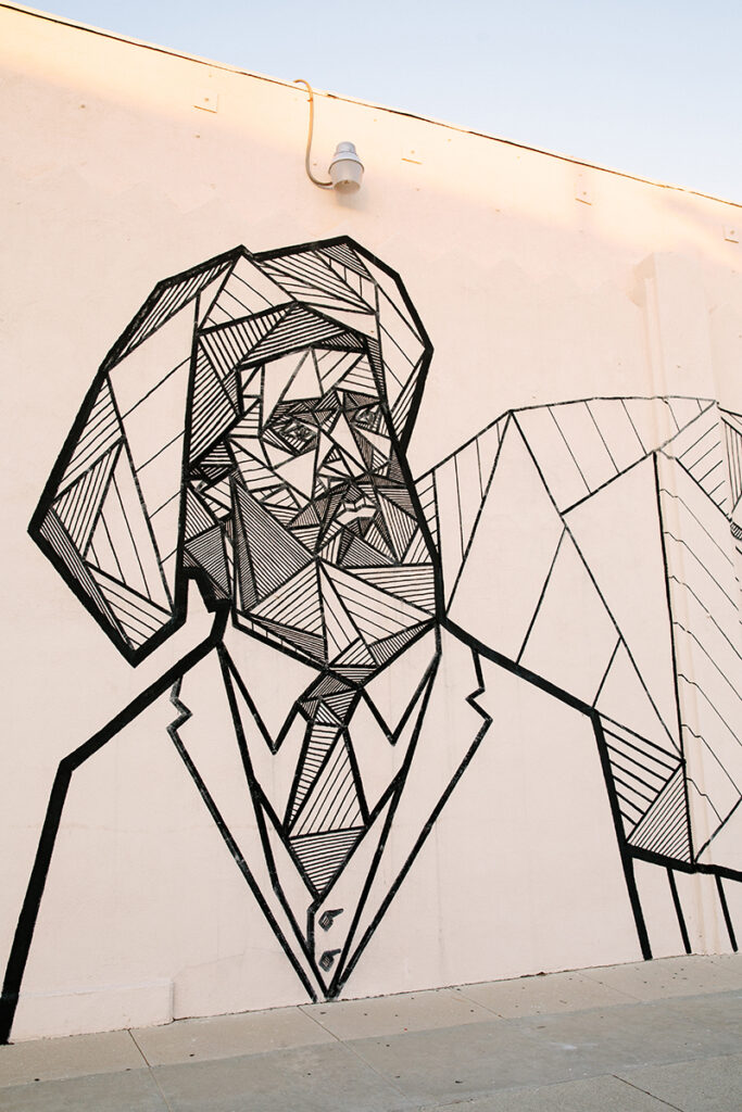 Etched mural of man