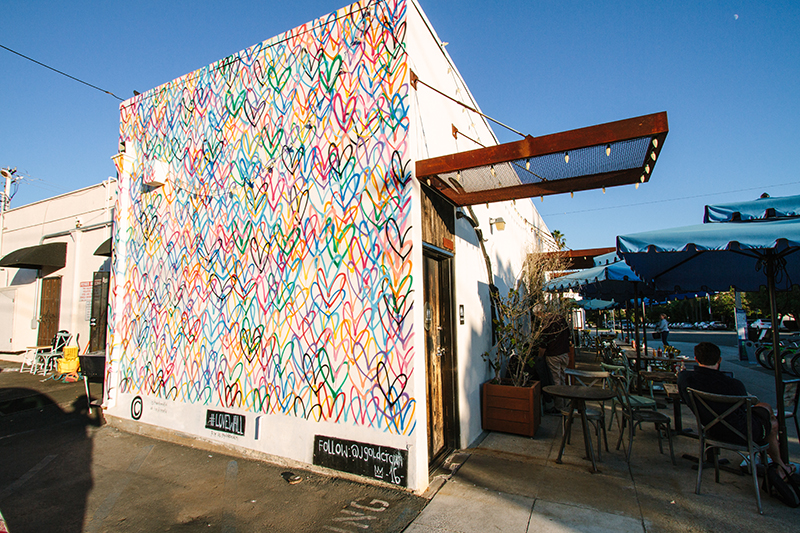 Mural of multi-colored hearts