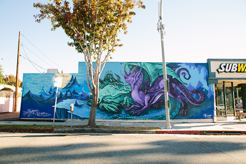 Mural of dragons