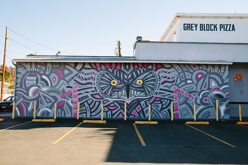 Abstract mural of owl