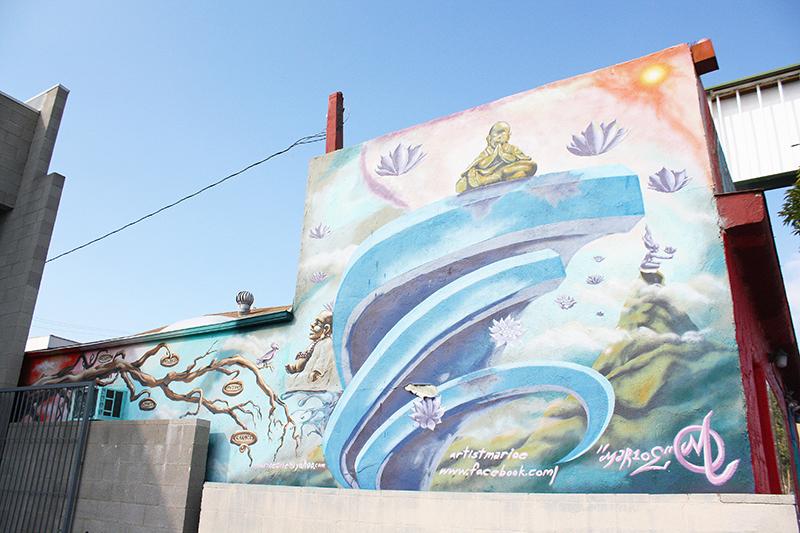 Mural of person meditating