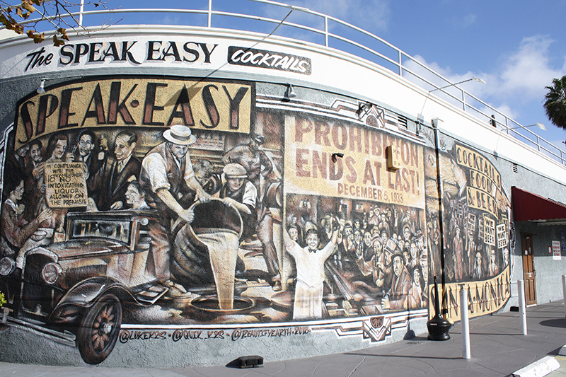 Speakeasy and prohibition mural