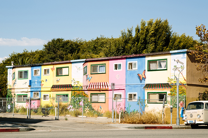 Mural of pastel colored apartments