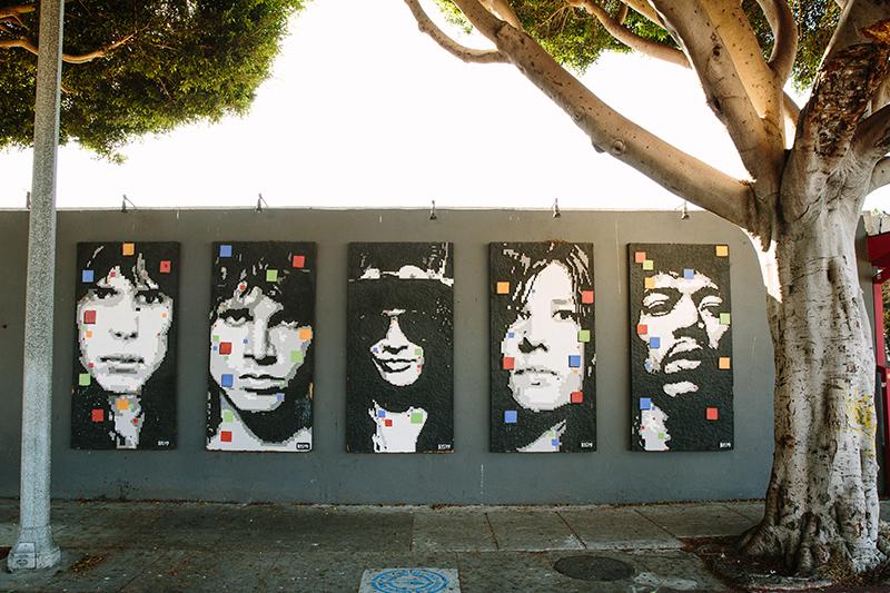 Mural of various famous rock musicians