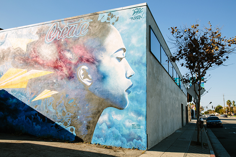 Mural of side profile of woman's face