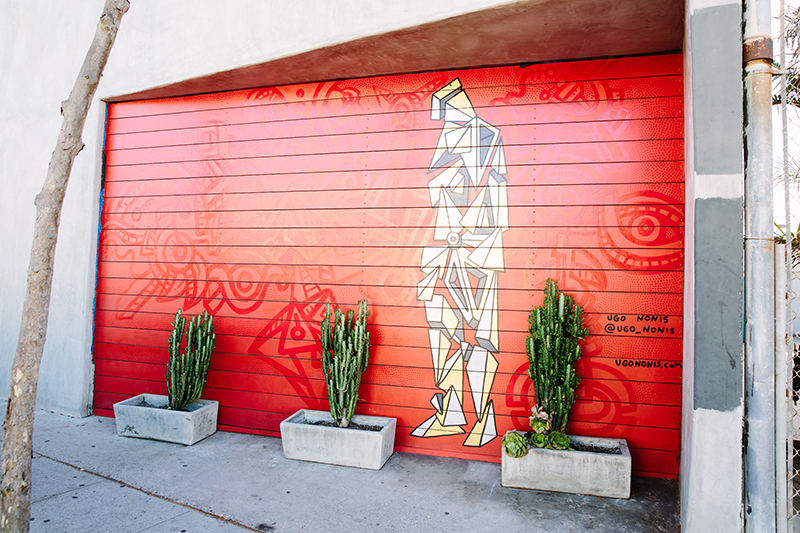Abstract mural of person standing