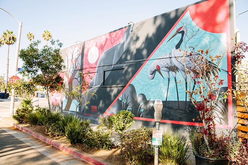 Mural of cranes
