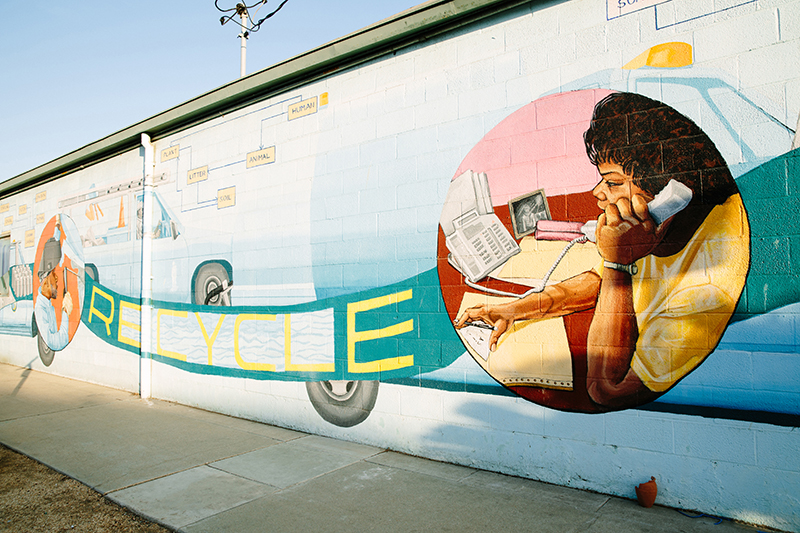 Mural of woman on phone