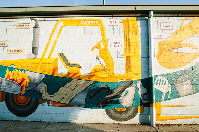 Mural of forklift