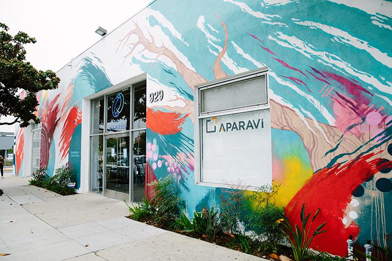 Colorful brushstroke mural