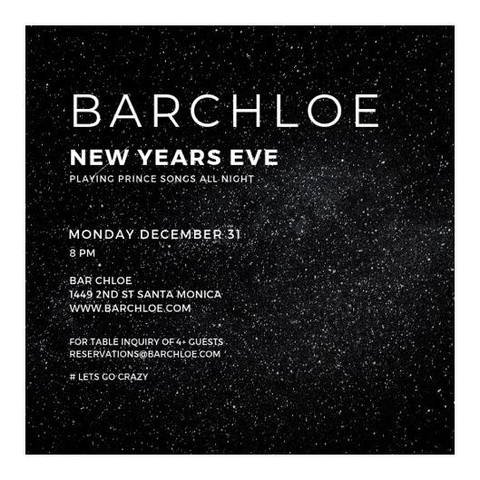 NEW YEARS EVE AT BAR CHLOE