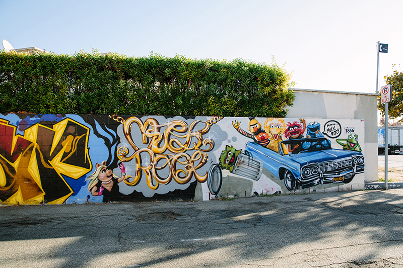 Mural of Sesame Street characters in an Impala