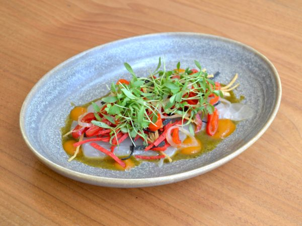 Local striped bass tiradito dish from BarBelle