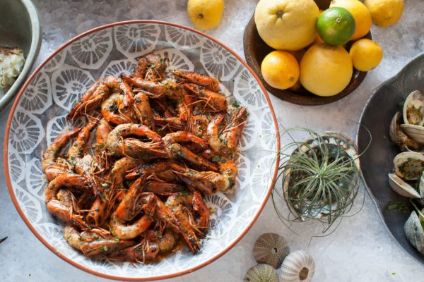Prawns tossed with Fresno chiles, garlic and Vietnamese hot sauce from Cassia