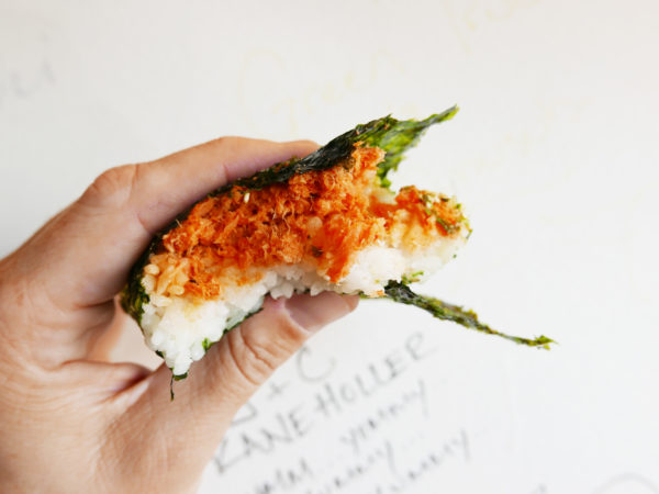 Omusubi with furikake wrapped with thin crispy nori from Sunny Blue