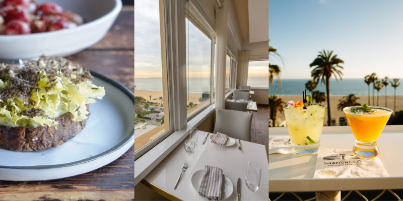 Luxury food and drink in Santa Monica: Preserved Ramp, Endive & Black Truffle on Toast at Rustic Canyon, The Penthouse ocean view at Huntley Hotel, drinks at ONYX Rooftop Bar at Hotel Shangri-La