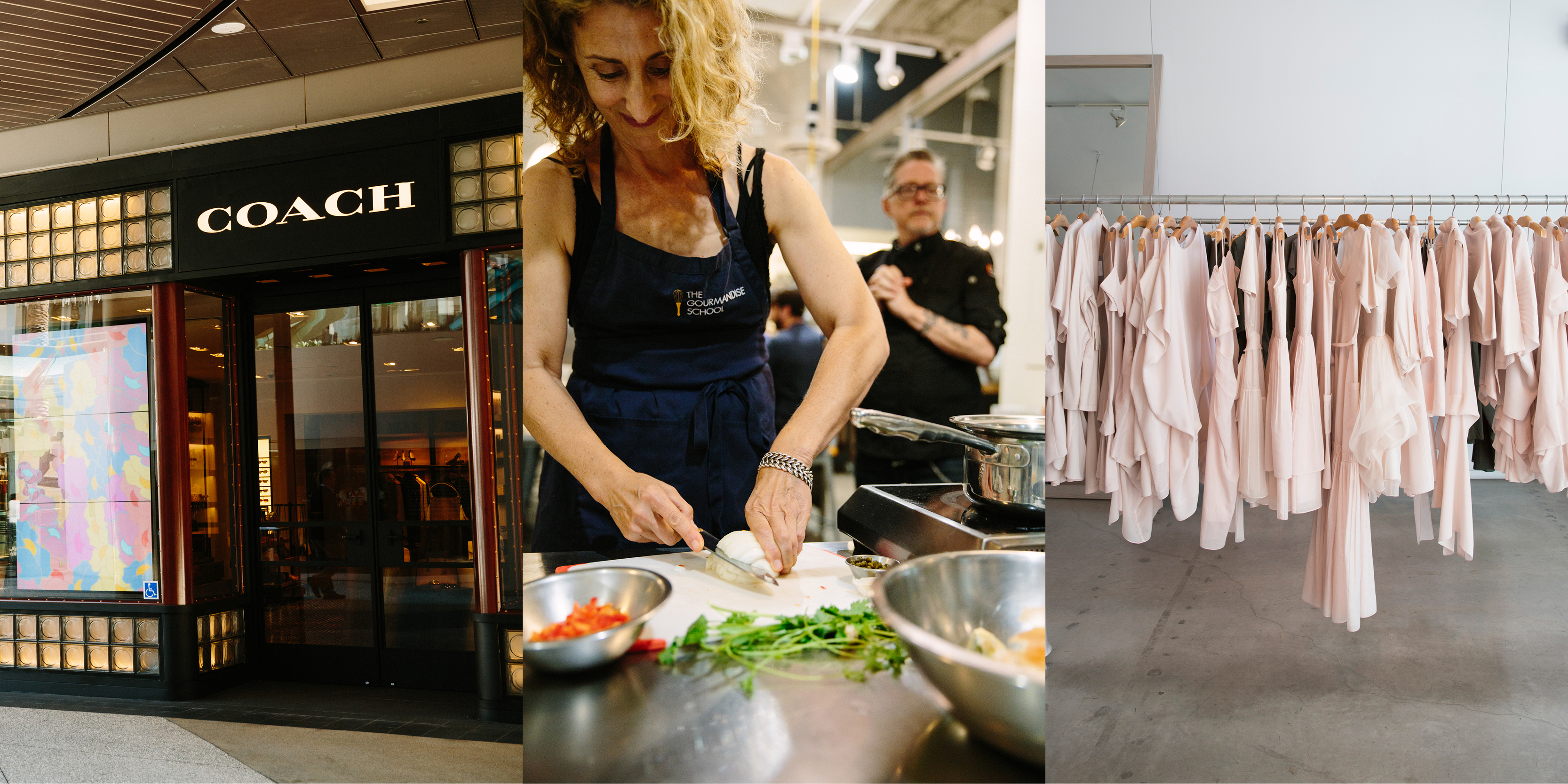 Luxury activities in Santa Monica: Coach storefront, woman cooking at Gourmandise School, luxury boutique