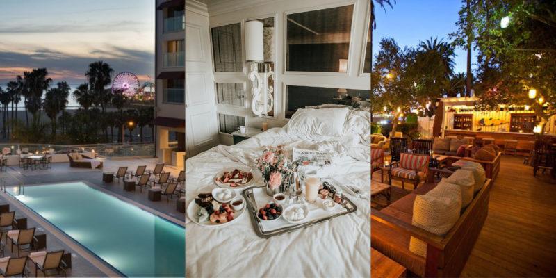 Luxury lodging in Santa Monica: Loews Hotel pool deck, breakfast in bed at Viceroy Santa Monica, The Bungalow patio