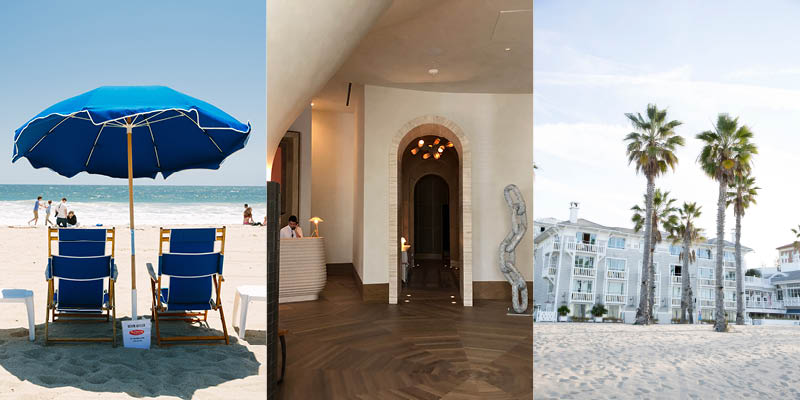 Luxury Relaxation in Santa Monica: beach butler service at Perry's, Santa Monica Proper Hotel lobby, Shutters on the Beach exterior