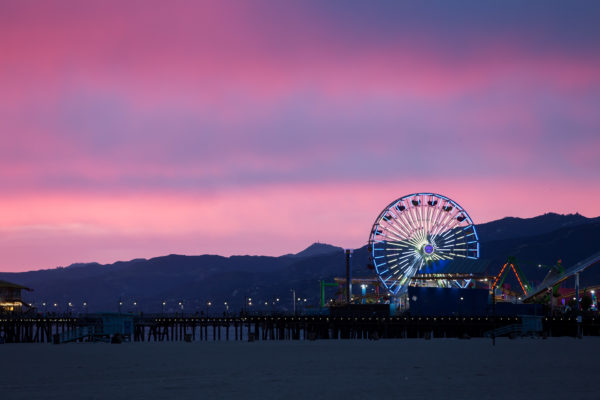 Santa Monica Pier at twilight with Ferris Wheel lit up