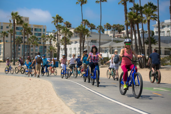People riding bike on the Marvin Braude Bike Trail