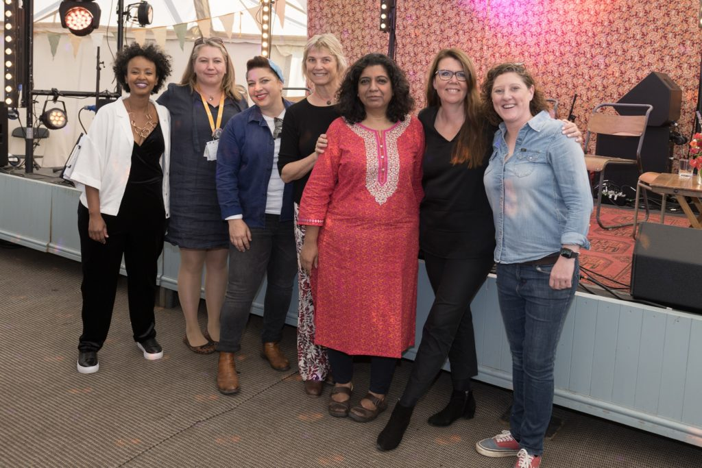 Culinary personalities Fozia Ismail, Aime Morris, Samatha Evans, Mary Sue Milliken, Asma Khan,Trine Hahnemann and Shauna Guinn participate on the Rise of #MeToo in the Kitchen panel.
