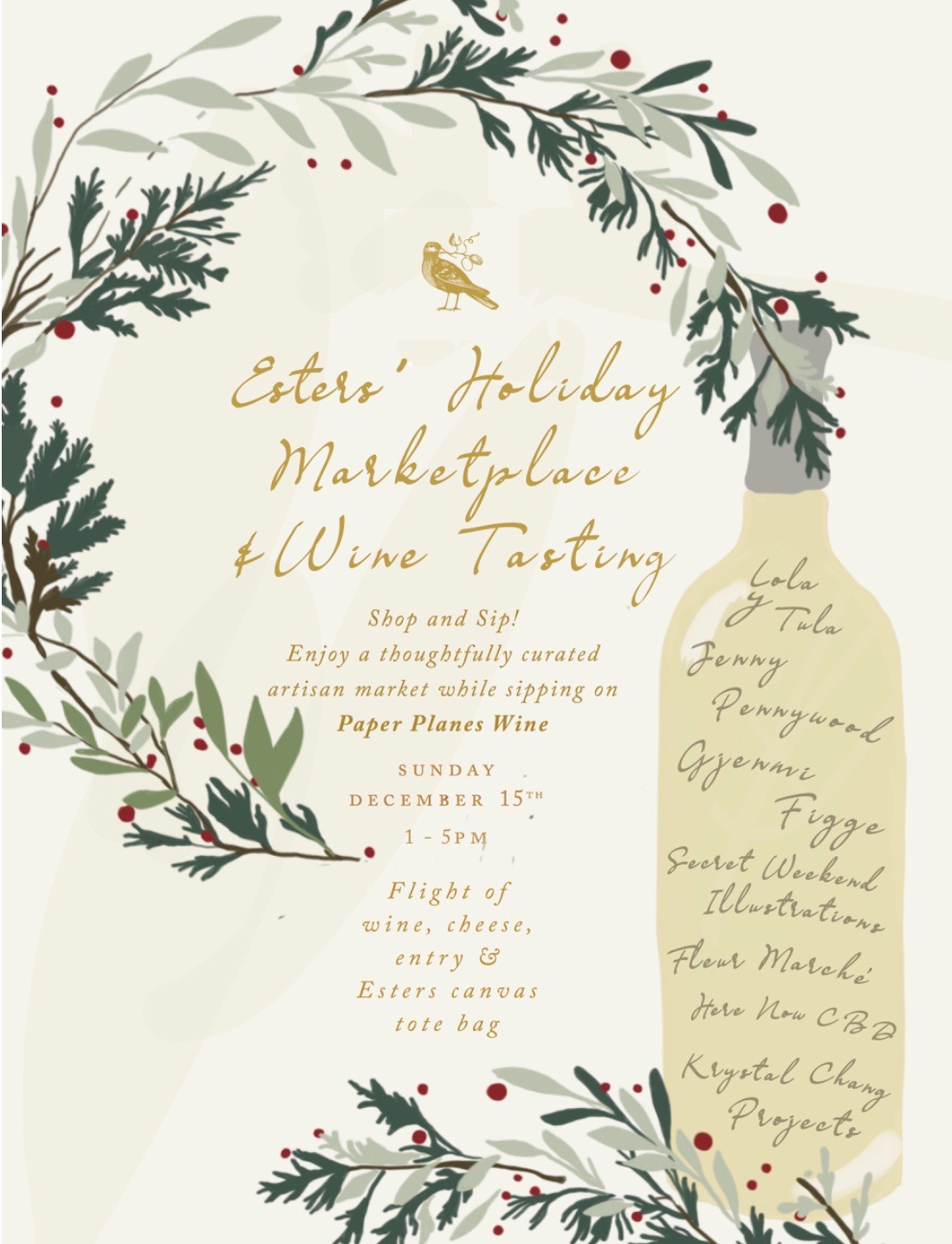 Holiday Marketplace and Wine Tasting at Esters Wine Shop & Bar