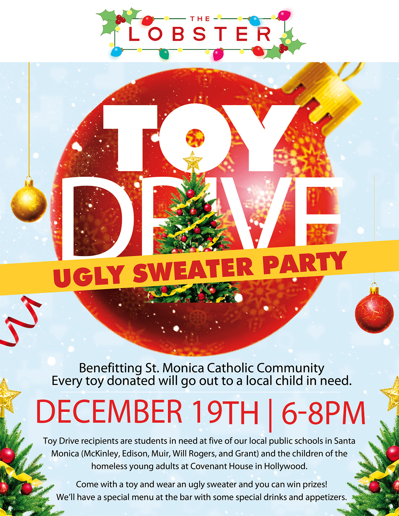 Ugly Sweater Party & Toy Drive at The Lobster
