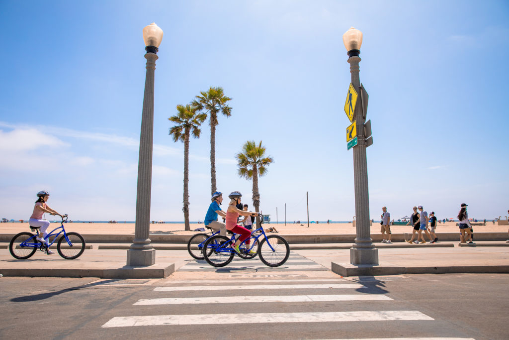 Bicyclists on the Santa Monica Bike Path