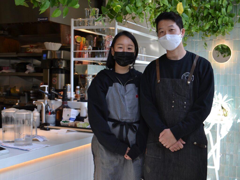Angie Kim and Daniel Kim outside of Interstellar in Santa Monica