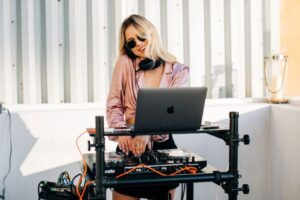DJ at Oasis by SWG in Santa Monica on a sunny day