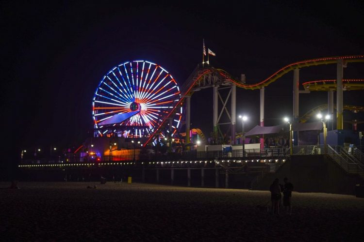 Labor Day Ferris Wheel Lighting on the Santa Monica Pier
