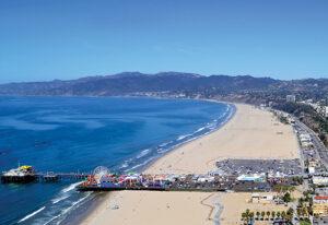 Santa Monica Beach Aerial shot of Palisades Park.