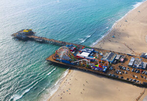 Aerial picture of Santa Monica Pier on a sunny day