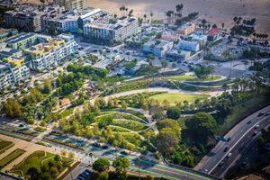 Aerial image of Tongva Park in Santa Monica