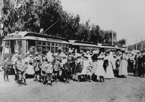 Historic image of people in front of a Trolley in Santa Monica.