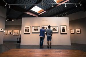 Men viewing art at Bergamot Station Art Center