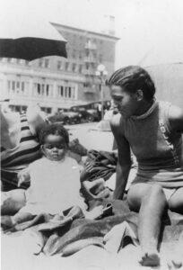 Women and child on Inkwell Beach in Santa Monica.