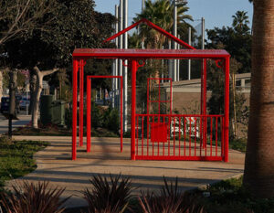 Art structure by April Banks of a traditional home, now in the Historic Belmar Park in Santa Monica.
